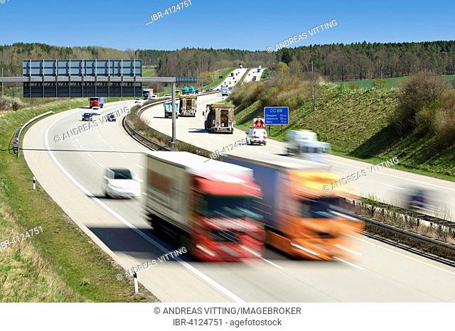 A4 motorway, highway, Autobahn, trucks and cars with motion blur, Hermsdorfer Cross, Thuringia, Germany