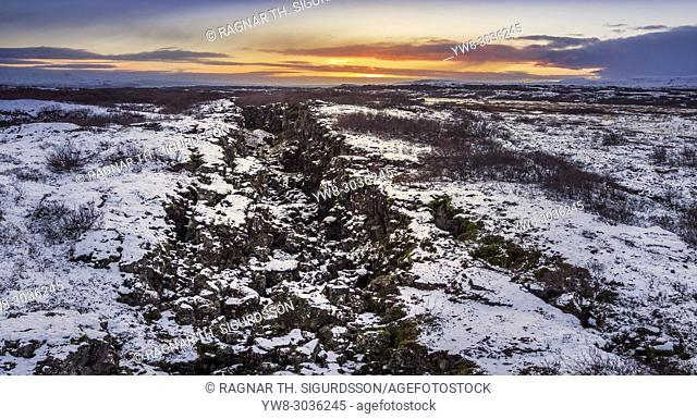 Almannagja Fissure, Thingvellir National Park, Iceland. This image is shot using a drone