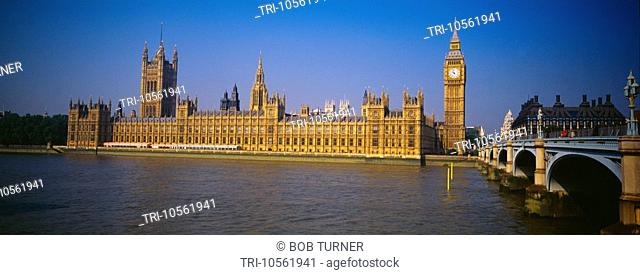 Houses of Parliament Big Ben Westminster Bridge River Thames London England