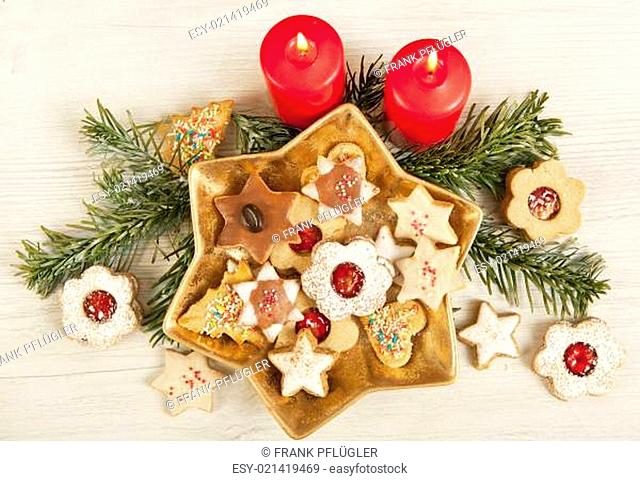 different cookies with candles