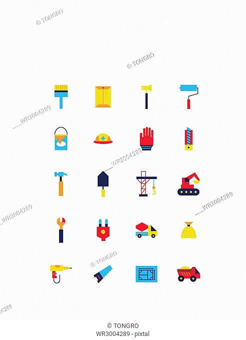 Set of various icons related to construction