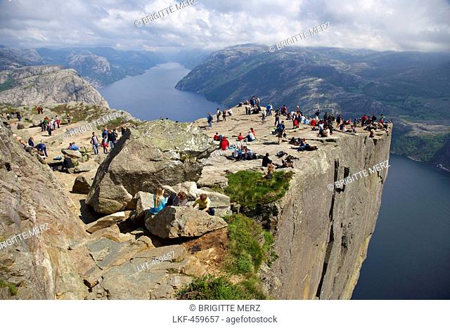 At the Prekestolen, natural rock platform, Lysefjord, Province of Rogaland, Norway, Europe