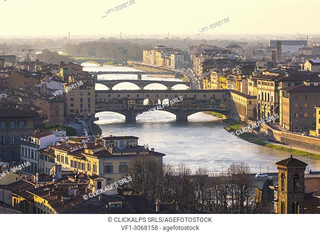 Ponte Vecchio bridge and Arno river, Florence, Tuscany, Italy
