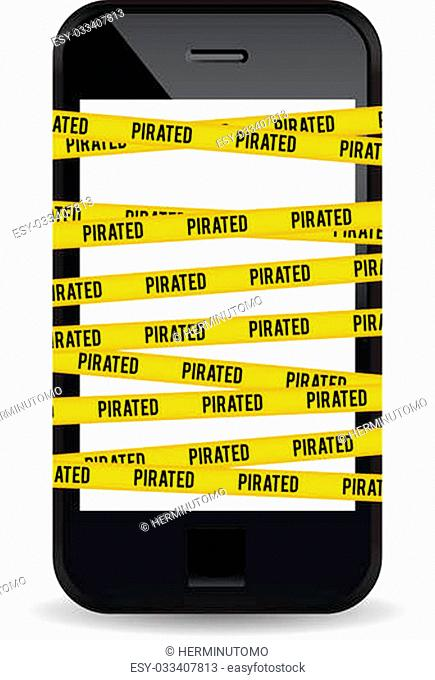 Vector illustration of a smartphone wrapped with yellow piracy warning sign