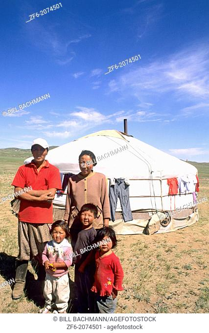 Mongolian Family by Ger in the Nomadic Country of Mongolia