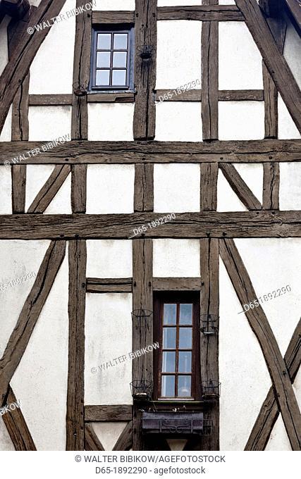 France, Centre Region, Eure et Loir Department, Chartres, half-timbered house detail, Rue des Ecuyers