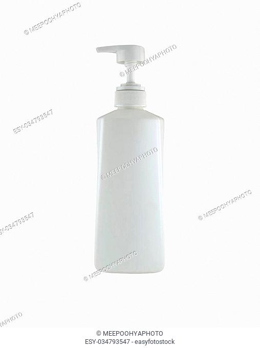 white shampoo bottle isolated on white background with clipping paths