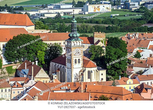 Clock and bell tower of Saint Wenceslas Church in Mikulov, Moravia, Czech Republic. View from Holy Hill
