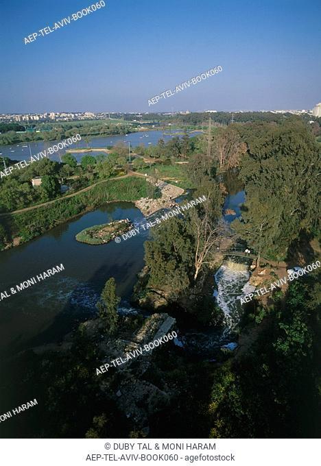 Aerial photograph of the Yarkon Park in northern Tel Aviv