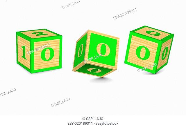 Vector number 0 wooden blocks