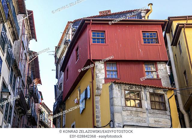 Residential buildings in Ribeira district of Porto city on Iberian Peninsula, second largest city in Portugal