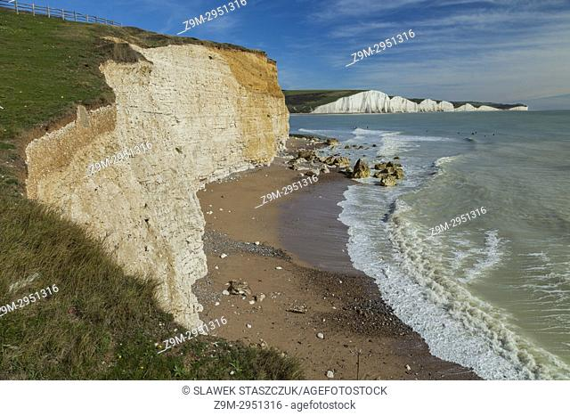 Afternoon on the coast in East Sussex, England. The cliffs of Seven Sisters in the distance