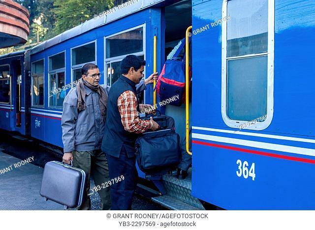Passengers Boarding The Darjeeling Himalayan Railway (aka The Toy Train) Darjeeling, West Bengal, India