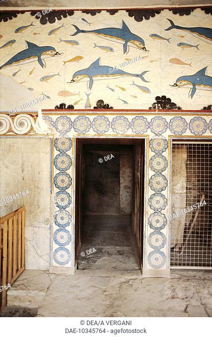 Greece - Crete - Knossos. Palace of Minos. Megaron of the Queen. Dolphins. Fresco. Minoan civilization