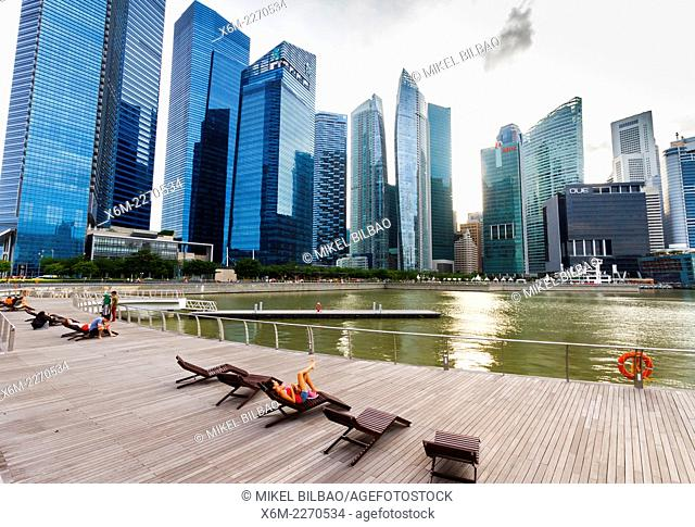 Skyscrapers and promenade. Singapore, Asia