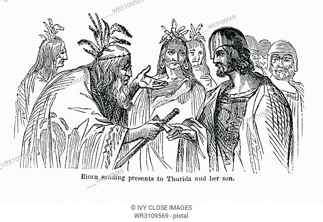 This illustrates dates to around 1846 and shows Biorn sending presents to Thurida and her son. The characters involved are Northmen or Norse Vikings
