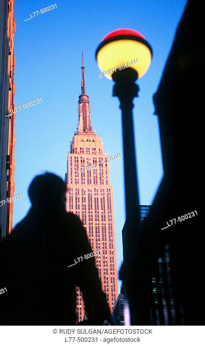 View of Empire State Building from subway exit, New York City. USA