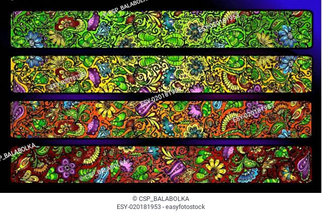fantasy decorative floral stripe background set