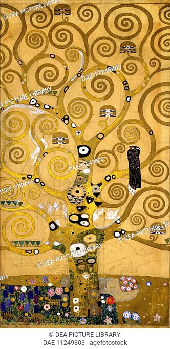 The Tree of Life, 1905-1909, by Gustav Klimt (1862-1918), cartoon for the Stoclet Frieze. Detail of the left side.  Vienna