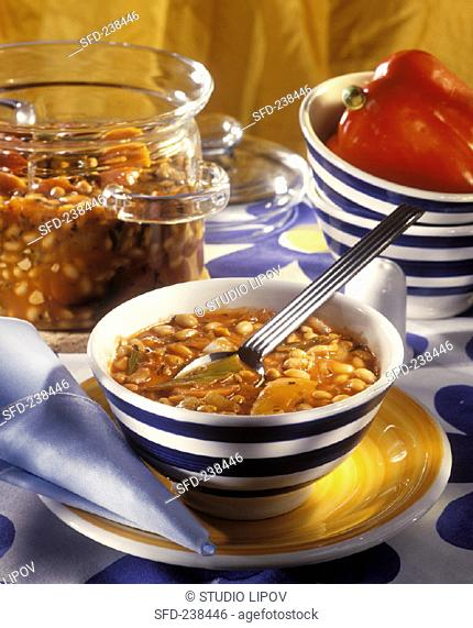 Soya bean soup with red peppers