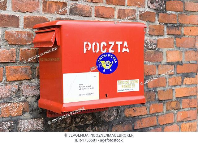 Postbox, letterbox, Zamek Krolewski na Wawelu, Wawel Royal Castle, historic district, Krakow, Cracow, Malopolska Province, Lesser Poland Voivodeship, Poland