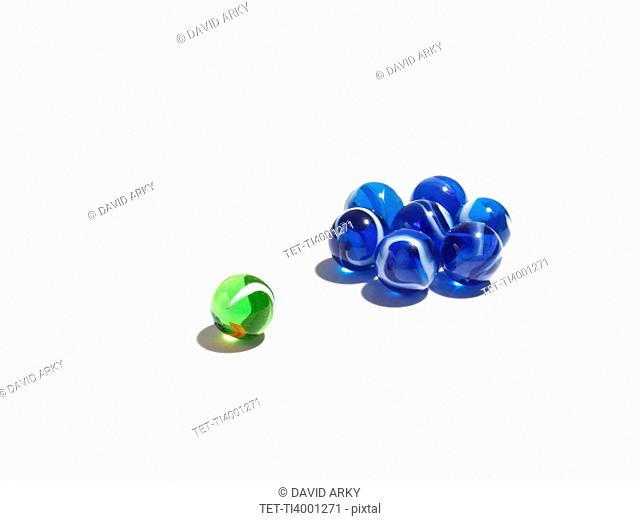 Blue glass balls in two different sizes