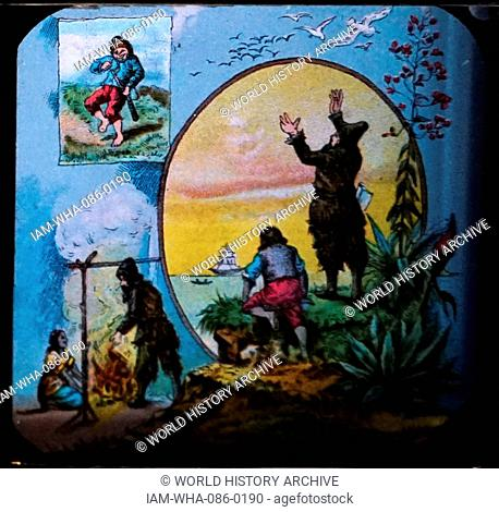 Lantern slide, a mounted photographic transparency for projection by a magic lantern, depicting a scene from 'Robinson Crusoe' by Daniel Defoe (1660-1731) an...