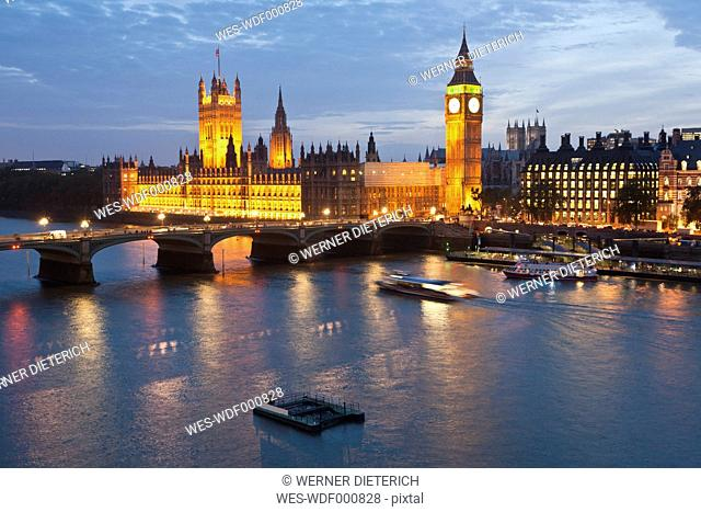Great Britain, England, London, View of big ben and westminster bridge with thames river