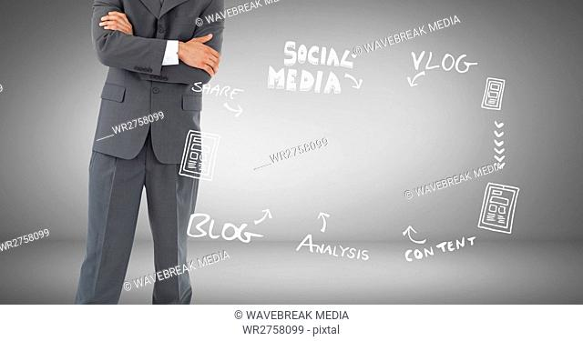 Businessman with social media blog Business graphics drawings