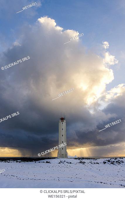 Snaefellsnes Peninsula, Western Iceland, Iceland. Malariff lighthouse in winter