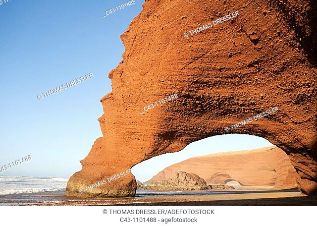 Morocco - Rock archs at the Atlantic Ocean at Legzira beach, 11km north of the town of Sidi Ifni in southwest Morocco