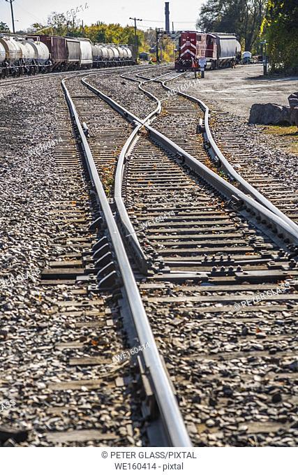 Train tracks and railroad cars