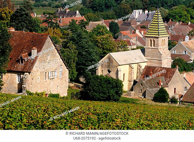 Church of Saint Martin founded in 1172 and surrounded by the best wines of the village as Domaine Napoleon, Fixin, Côte de Nuits, Côte d'Or, Burgundy, France