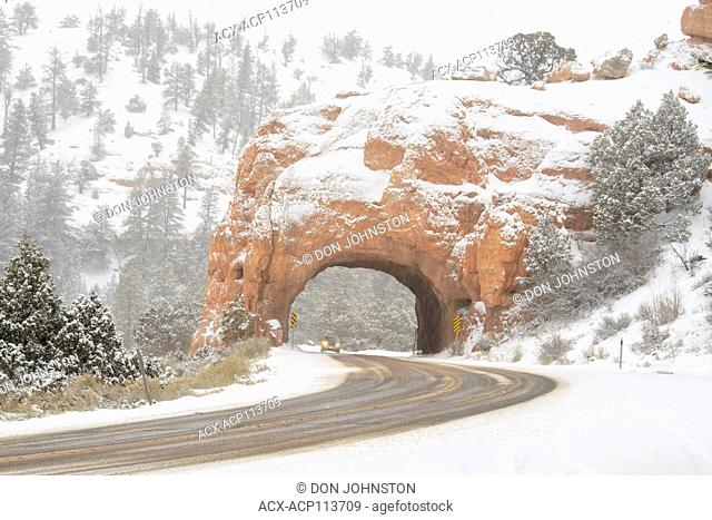 Tunnel with snow in Red Canyon, Dixie National Forest, Red Canyon, Utah, USA