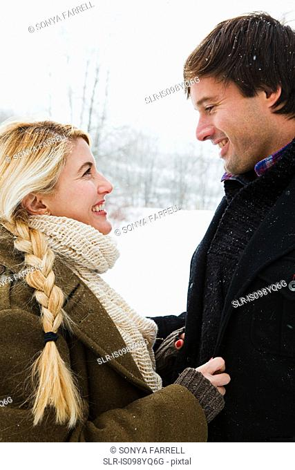 Mid adult couple in snow