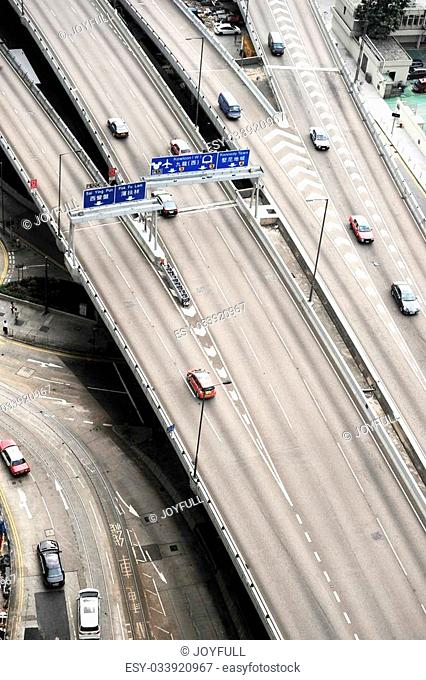 Aerial view of a flyover in Hong Kong