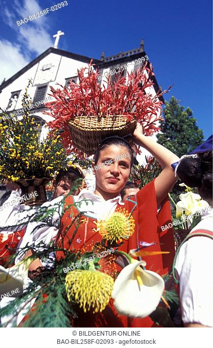 The traditional spring flower party in the capital of Funchal on the island Madeira in the Atlantic