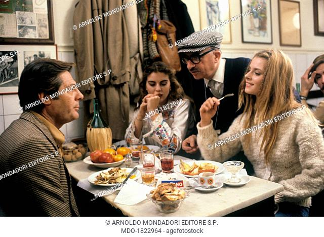 Italian Actor Marcello Mastroianni Lingering With Italian Director Alberto Lattuada Italian Actress Ania Pieroni And