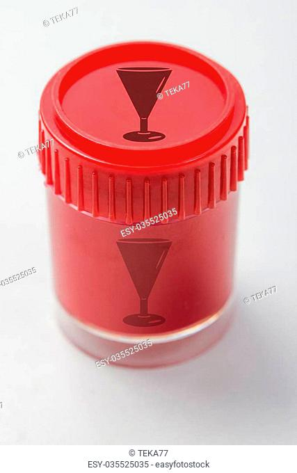 red colored pot with a champagne glass symbol