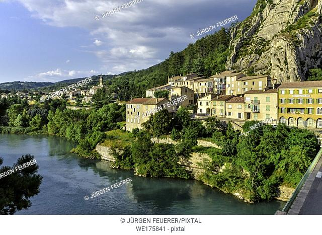 Sisteron, Provence, France, houses at the riverside of the Durance