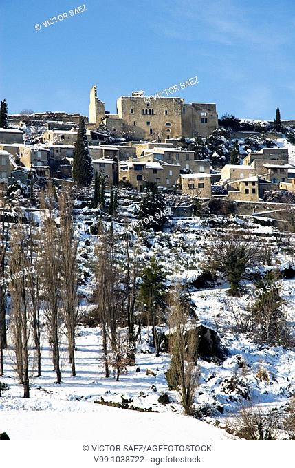 Provence village under snow Crestet