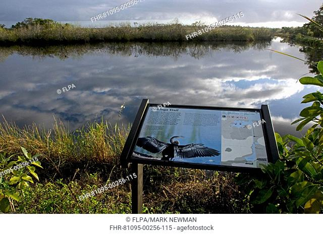 Information board overlooking borrow pit habitat, Anhinga Trail, Everglades N P , Florida, U S A