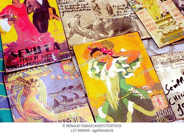 Antique 'Feria de Abril' posters. Sevilla.  Andalucia. Spain