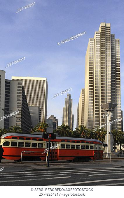 Tram in the Port of San Francisco and Ferry Building, San Francisco, California, USA