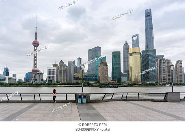 Cityscape with oriental pearl tower in skyline and Huangpu river, Shanghai, China