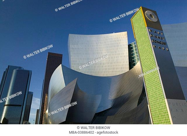 USA, California, Los Angeles, Downtown, Walt Disney Concert reverberation, skyscrapers, no property release, city, city, metropolis, buildings, construction