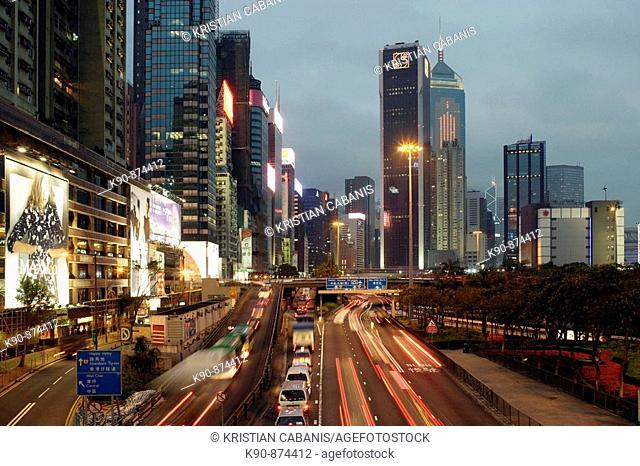Busy street at early evening at Causeway Bay, Central, Hong Kong Island, Hong Kong, China, Southeast Asia