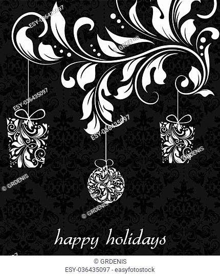 Vintage Christmas card with ornate elegant retro abstract floral design, white flowers on black background with hanging gifts and ball