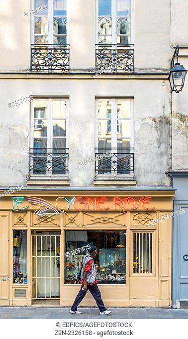 antique shop -le cygne rose-, rue st paul, marais district, paris, ile de france, france