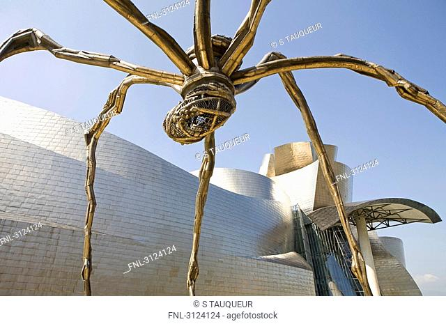 Sculpture in front of the Guggenheim Museum, Bilbao, Spain, low angle view